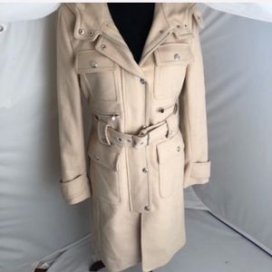 Laundry by Shelli Segal belted wool hood trench